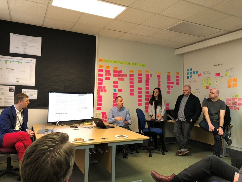 the team talking about a blog at a show and tell