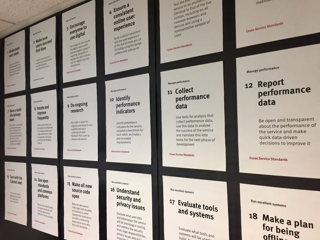a wall of posters showing the service standards