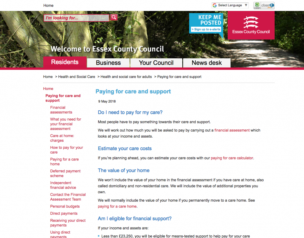 The new paying for care pages on Essex.gov.uk