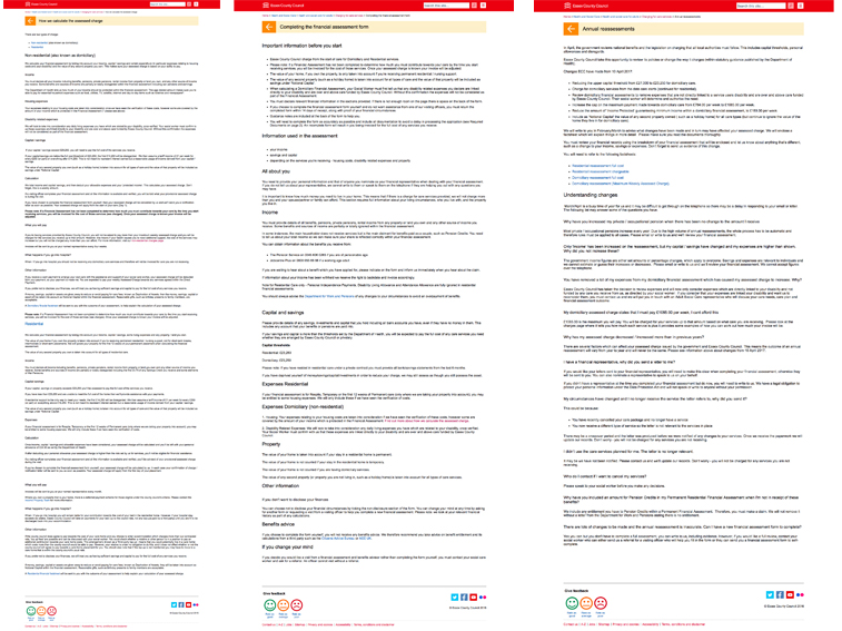 A selection of 3 screengrabs showing some of the existing charging for care pages