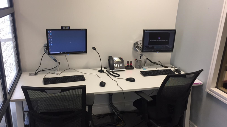 An empty user testing lab