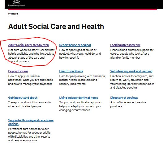 the adult social care landing page without a link at the top