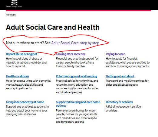 the adult social care landing page with a link at the top