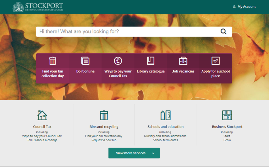 A screengrab of the Stockport Council website