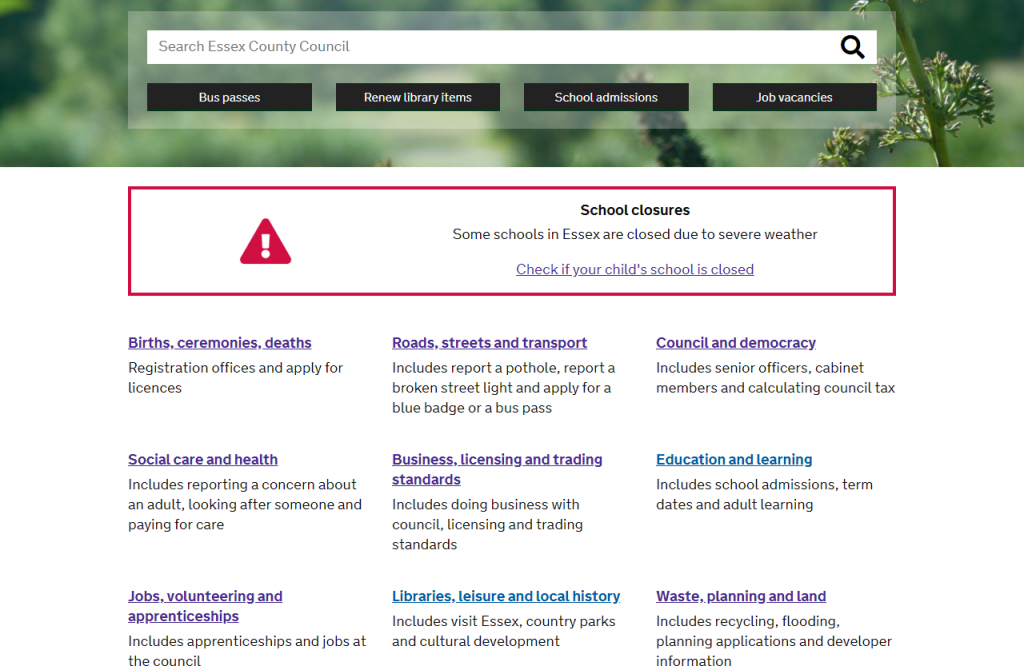 One of the in-progress prototypes of the homepage for beta.essex.gov.uk