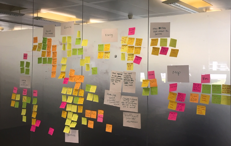 A glass wall of post it notes