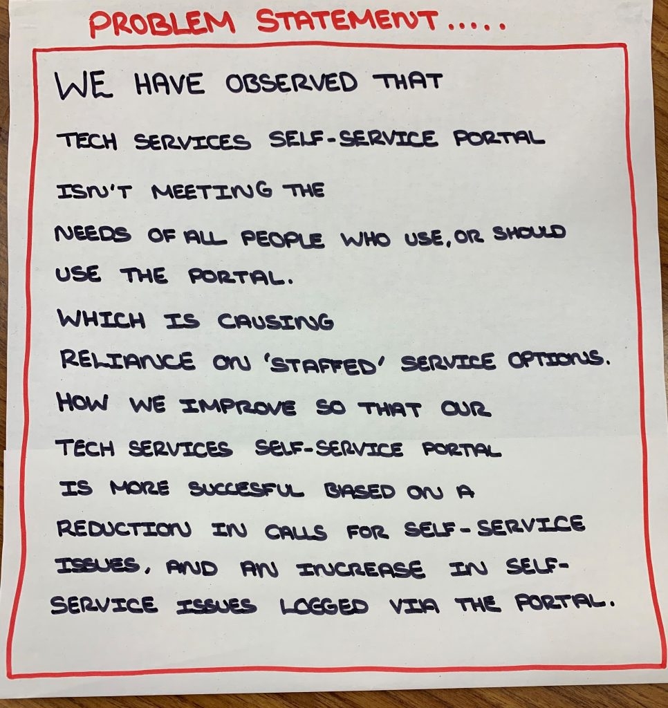 Our problem statement, saying the tech services portal isn't meeting needs and is pushing people to call instead. Improving this will lead to fewer calls.