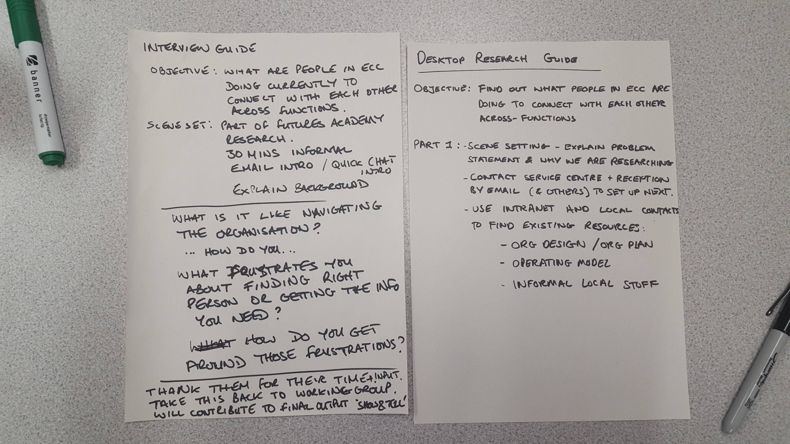 A3 pieces of paper with our user research guidelines for interviews and desktop research written on them