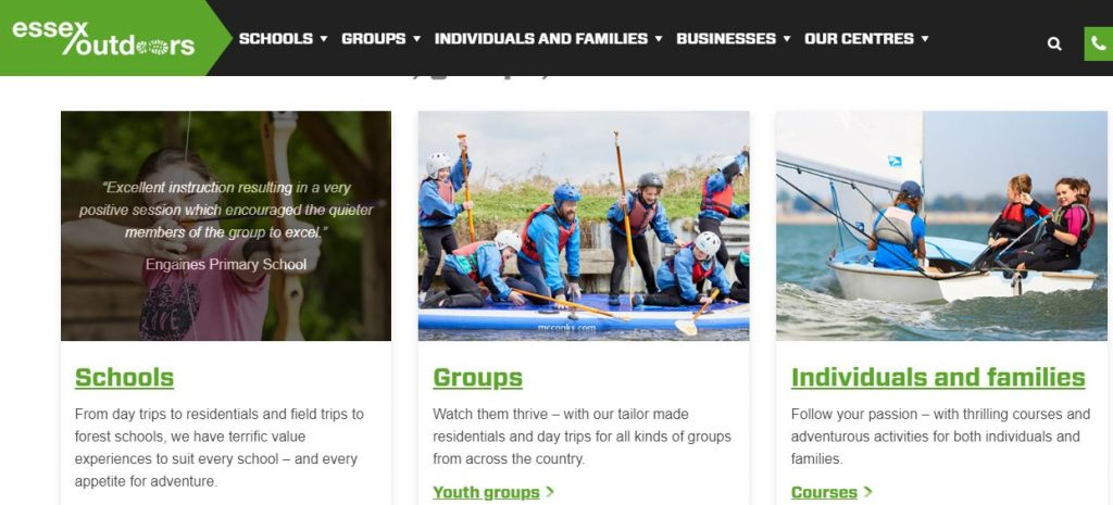 A picture of the Essex Outdoors website's homepage