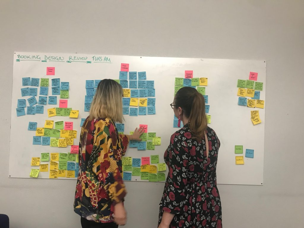 User researchers mapping in front of a wall of post it notes