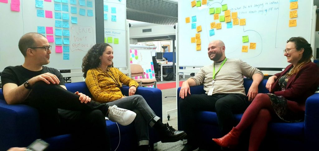 Developer, Martin, delivery manager, Greg, service designer, Maria and user researcher Magda on the sofa at Essex County Council offices